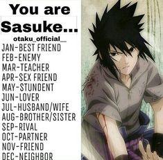 birthday month meme Oh yeah! I'm his wife Anime Naruto, Naruto Shippuden Sasuke, Naruto Kakashi, Sasunaru, Boruto, Birthday Scenario Game, Birthday Games, Birthday Month, Anime Zodiac