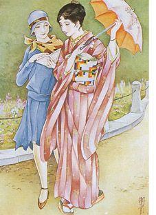 Vintage Kimono ilustrations. Taishou-jidai