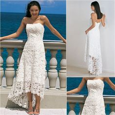 New Stock Strapless White Ivory Lace Short Wedding Dress, Beach Bridal Gown (H018)