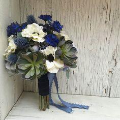 Succulent Blue & White Silk Wedding Bouquet with by fleurdunord
