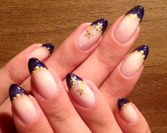 Purple glitter french tips, golden flower accent nail, almond nails, natural nails, nail art