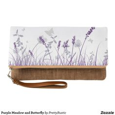 Purple Meadow and Butterfly Clutch