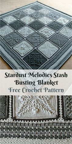 "This wonderful blanket is make with ""Begin the Beguine"" with texture square. Fun textured squares! These were a great way of relaxing and stash busting simultaneously! Link for free pattern you can find below! Skill Level: Easy, Craft: Crochet Stardust Melodies Stash Busting Blanket – Visit free pattern site. Visit Block list!"