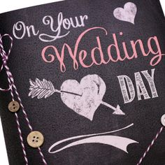 Handmade Wedding Day Card Chalk Effect Vintage Chalkboard Buttons Baker's Twine - 'On your Wedding Day'
