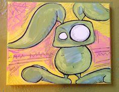 bunny painting by thetimmyvalentine on Etsy, $56.00