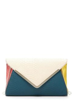 Colorblock Clutch with Shoulder Strap.