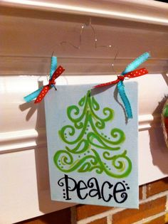 christmas tree on canvas board 1500 via etsy tree canvas paintings christmas