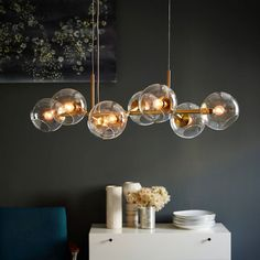 Stylish Lights For Chandeliers Staggered Glass Chandelier 8 Light West Elm Chandelier, Kitchen Lighting Fixtures, Chandelier Lighting, Ball Pendant Lighting, Bedroom Lighting, Glass Chandelier, Glass Ball Pendant Lighting, Light Fixtures, Kitchen Island Lighting