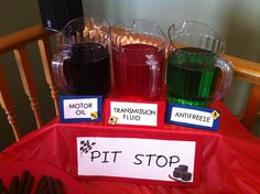 Motor Oil, Antifreeze and transmission fluid!!! Grape, lime and cherry kool-aid!