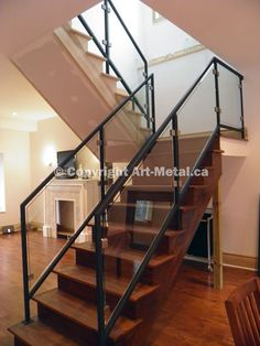 Art Metal Workshop has been producing top-quality glass railing systems for years. Order a custom glass railing design at a reasonable cost. Interior Stair Railing, Staircase Railings, Glass Stairs, Glass Railing, Home Look, Contemporary Interior, New Homes, House, Toronto