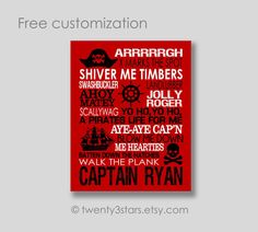 This Pirate Typography Canvas Or Art Print Would Make A Great Gift For Any Lover Text ColorBackground