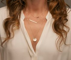 Layering Necklaces with Skinny Bar, Large Disc and Gemstone Bar. Personalize your set with options (see below). Fabulous, Minimal Necklaces with a