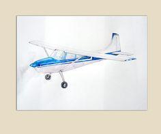 Airplane decor Original painting Blue plane watercolor Airplanes decor Boys nursery aviation art Propeller aircraft Cessna illustration by Mirabilitas on Etsy