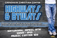 CCC Highways & Byways will be going out to minister the Good News of the Gospel of Jesus Christ, winning souls for the Kingdom!! Join Highways & Byways Saturday morning, April 9th at 10:00AM in Music Center Room 103. For more information contact the church office at ext. 4148.