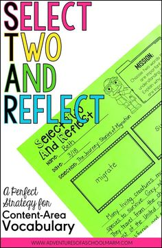 Select Two and Reflect (STAR) is another one of my favorite content area reading strategies to boost vocabulary! It really makes students think about which words are important and how they are connected. I love that it encourages diverse thinking. Reading Resources, Reading Activities, Teaching Reading, Guided Reading, Reading Groups, Close Reading, Vocabulary Activities, Vocabulary Words, Spelling Activities