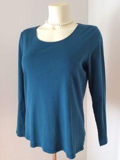 J Jill Medium Blue Perfect Pima Top 100% Pima Cotton GUC  | eBay