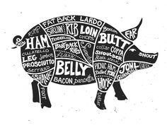 Check out Labeled Cuts of Meat - Pig by Ramsey Creative on Creative Market Carne Asada, Photoshop Shapes, Grilling Sides, Pig Illustration, Meat Markets, Pork Ham, Pig Roast, Butcher Shop, Meat Butcher
