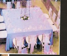 Purple, lavender and white Colorado wedding reception table design and decor.