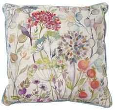 Beautiful rectangular cushion featuring a watercolour of British birds on a floral background. Printed onto natural Scottish linen and backed with duck egg blue, the bird design retains the beauty of the original painting. Made by hand in the UK Pillow Talk Cushions, Printed Cushions, Cushions On Sofa, Throw Pillows, Small Cottage Interiors, Country Cushions, Garden Cushions, Cushions Online, Crafts Beautiful