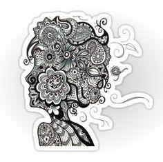 Woman Zentangle Sticker by AmandaSmentCreations on Etsy, $3.00