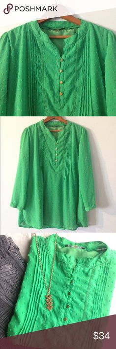 🆕 Kelly green swiss dot blouse Beautiful swiss dot blouse with gold accents in kelly green by Jennifer & Grace, size large! In EUC, no flaws! Would look adorable tucked into a high-waisted skirt! jennifer & grace Tops Blouses