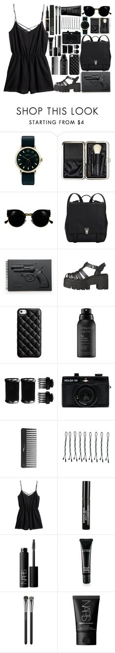"""""""Black"""" by annaclaraalvez ❤ liked on Polyvore featuring Marc by Marc Jacobs, Bobbi Brown Cosmetics, Retrò, Proenza Schouler, Revolver, Case-Mate, Living Proof, T3, Holga and Sephora Collection"""