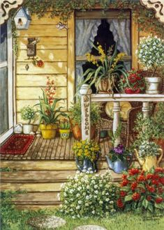 Summer Front Porch, an original oil painting and a giclee , personally enhanced and by the artist Janet Kruskamp showing the front door, narrow window and a deck like porch. Painting Prints, Painting & Drawing, Watercolor Paintings, Fine Art Prints, Canvas Prints, House Painting, Painting Doors, Canvas Art, Summer Front Porches