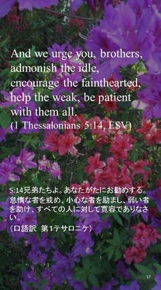And we urge you, brothers, admonish the idle, encourage the fainthearted, help the weak, be patient with them all.(1 Thessalonians 5:14, ESV)