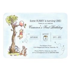 Pooh & Friends Watercolor Tree | First Birthday Invitation First Birthday Cards, 1st Birthday Invitations, First Birthday Parties, Baby Shower Invitations, First Birthdays, Disney Invitations, Birthday Gifts, Baby Birthday, Theme Parties