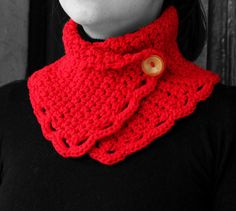 Neck warmer red  yellow button by MmeDefargeYarnworks on Etsy