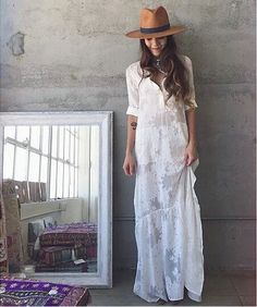 BOHO Slit Side Lace White Chiffon Maxi Dress - Sassy Posh - 9