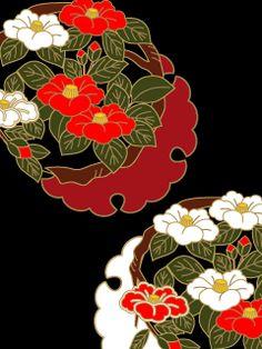 携帯待受け 和柄 椿花丸文 Japanese Patterns, Japanese Fabric, Japanese Design, Japanese Kimono, Japanese Art, Kimono Pattern, Pattern Art, Fox Tattoo, Fabric Patterns