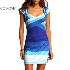 COLROVE Summer Women Clothing 2016 New Arrival Female Sexy Clubwear Multicolor Square Neck Cap Sleeve Ombre Bodycon Mini Dress