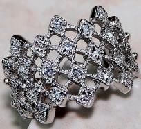 Intricate 3 ctw White Topaz Latticework Filigree Wide Band~Solid 925 SS~Size 8! Sale Item! Hurry!