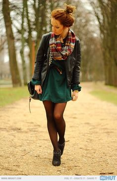 one of the easiest outfits for fall?, a dark colored dress, tights, a leather jacket, and a cute scarf