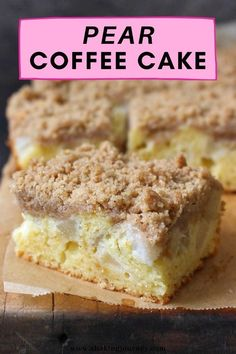 If you are looking for a delicious winter cake idea, you must try this Spiced Pears Crumble Cake! This easy pear coffee cake is a yummy mix between a classic yellow cake, a layer of melt in your mouth spiced pears and a streusel topping packed with cinnamon and spices. This easy and moist pear streusel cake recipe is a must try! Streusel Cake, Streusel Topping, Winter Desserts, Fun Desserts, Easy Cake Recipes, Sweets Recipes, Different Types Of Cakes, Ceramic Baking Dish, Spiced Pear