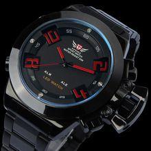 2013 EPOZZ nuevos hombres de Military Sports LED analógico hora Dual negro inoxidable pulsera colores watch, 12 meses de garantía 3ATM(China (Mainland))