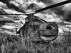 Derelict Helicopter HDR - Long Marston Airfield