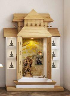 Bed Design, House Design, Temple Design For Home, Mandir Design, Pooja Mandir, Pooja Room Door Design, Smart House, Puja Room, Diy Patio
