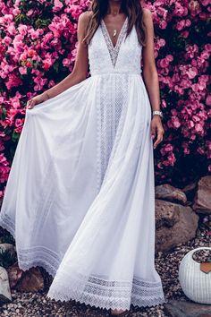 Lace Split-joint Backless Evening Dress - Lace Split-joint Backless Evening Dress Source by rissaganlaszlo - White Boho Dress, Girls White Dress, White Maxi Dresses, Nice Dresses, Simple White Dress, Awesome Dresses, Lace Maxi, Dresses Dresses, Casual Dresses