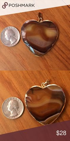 🆕 Tiger's Eye Heart Pendant Shades of caramel, tan, brown and gold. Polished natural gemstone. See photos for size. Chain not included. Please ask if you have questions. Jewelry