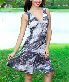 Look what I found on #zulily! Gray & White Watercolor V-Neck Dress by Modern Touch #zulilyfinds