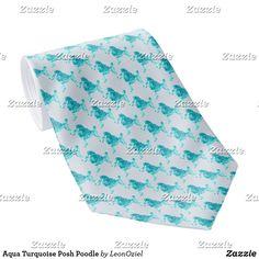 Shop Aqua Turquoise Posh Poodle Neck Tie created by LeonOziel. Aqua, Turquoise, Custom Ties, Unique Image, Business Supplies, Vintage Green, Poodle, Vintage Shops, Night Out