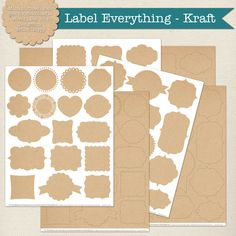 FREE printable label frames in Kraft pattern