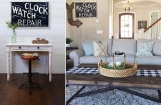 """Black and White Metal """"Clock & Watch Repair"""" Sign Clock Repair, Metal Clock, Vintage Metal Signs, Crafts To Make And Sell, Antique Farmhouse, Diy Signs, Accent Pieces, Living Room, Watch"""