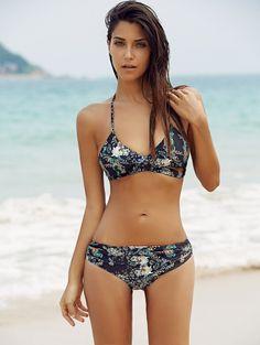 Halter Hollow Out Floral Print Bikini Set #womensfashion #pinterestfashion #buy #fun#fashion