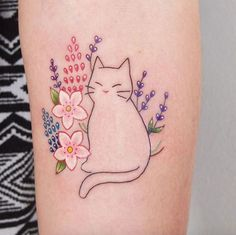 Cute kitty tattoo by Jessica Channer