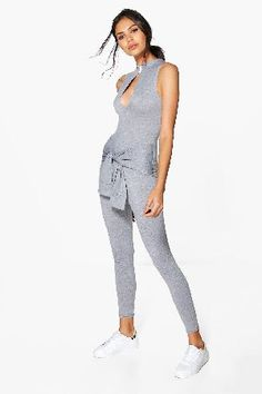 #boohoo High Neck Tie Detail Jumpsuit - grey DZZ63949 #Sally High Neck Tie Detail Jumpsuit - grey