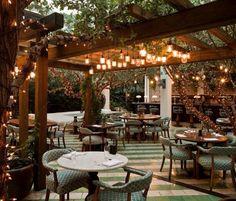 Soho Beach House - tropical - patio - miami - Raymond Jungles, Inc. Cafe Restaurant, Outdoor Restaurant Design, Outdoor Kitchen Design, Restaurant Interior Design, Patio Design, Backyard Restaurant, Restaurant Ideas, Brewery Interior, Bistro Interior