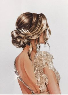 ▷ beautiful drawing ideas with detailed instructions, Nice picture to paint, woman in white evening dress with crystals, elegant updo. Girly M, Fashion Illustration Dresses, Hair Sketch, Girly Drawings, Fashion Design Drawings, Vintage Fashion Sketches, Beautiful Drawings, Cartoon Art, Designs To Draw